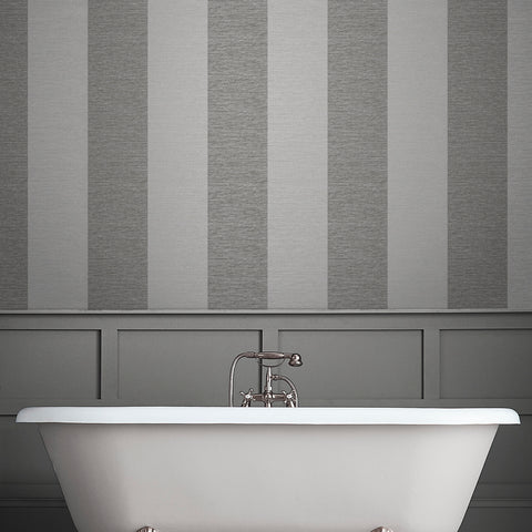 Atelier Stripe Wallpaper in Slate from the Exclusives Collection by Graham & Brown