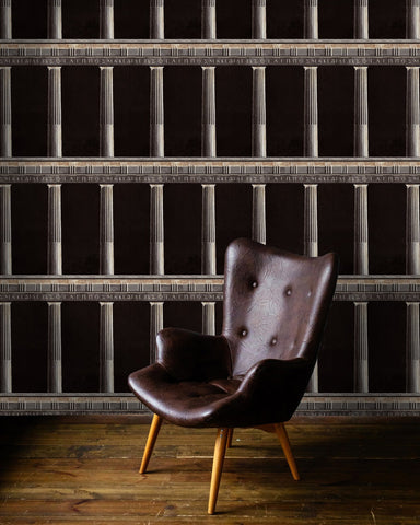 Athena Wallpaper in Anthracite from the Histoire de L'Architecture Collection by Mind the Gap