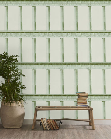 Athena Wallpaper in Moss from the Histoire de L'Architecture Collection by Mind the Gap