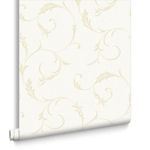 Athena Wallpaper in White Gold from the Midas Collection by Graham & Brown