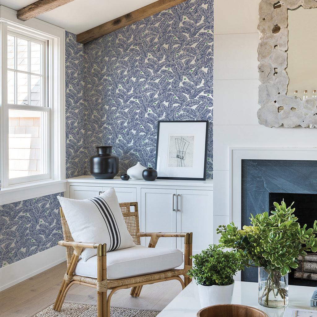 Athina Fern Wallpaper in Navy from the Pacifica Collection by Brewster Home Fashions