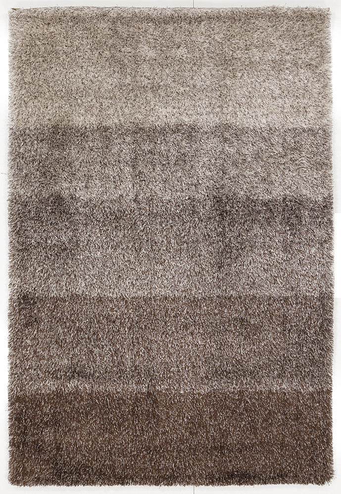 Atlantis Collection Hand Woven Shag Area Rug In Brown