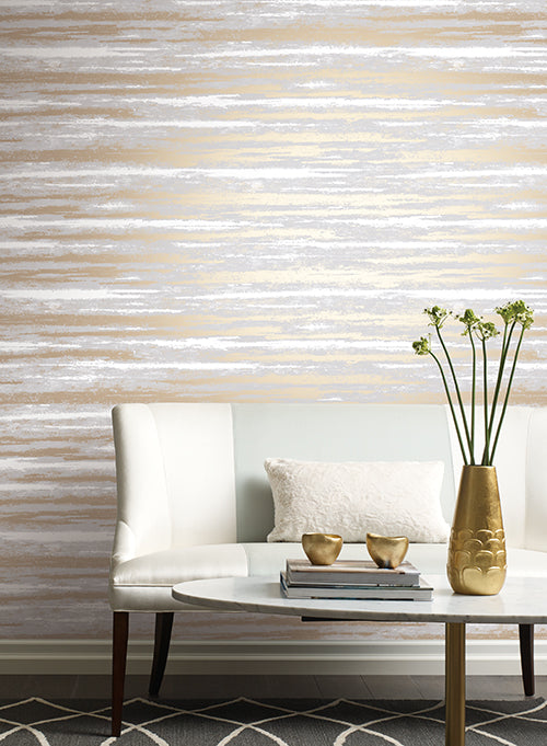 Atmosphere Wallpaper in Grey and Gold by Antonina Vella for York Wallcoverings