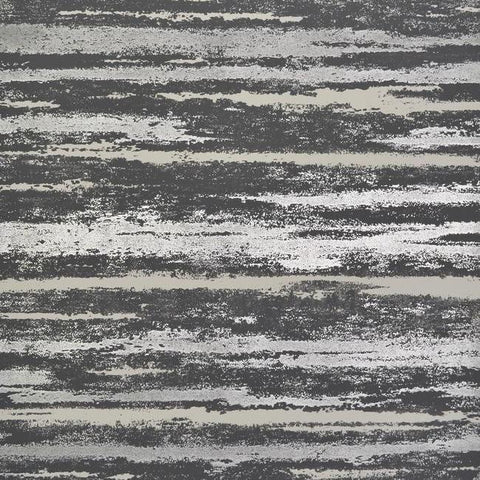 Atmosphere Wallpaper in Black and Silver by Antonina Vella for York Wallcoverings