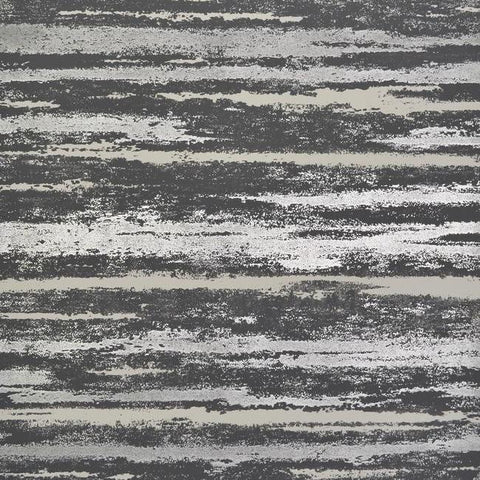 Sample Atmosphere Wallpaper in Black and Silver by Antonina Vella for York Wallcoverings