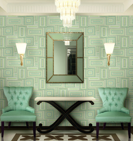 Attersee Squares Wallpaper from the Lugano Collection by Seabrook Wallcoverings