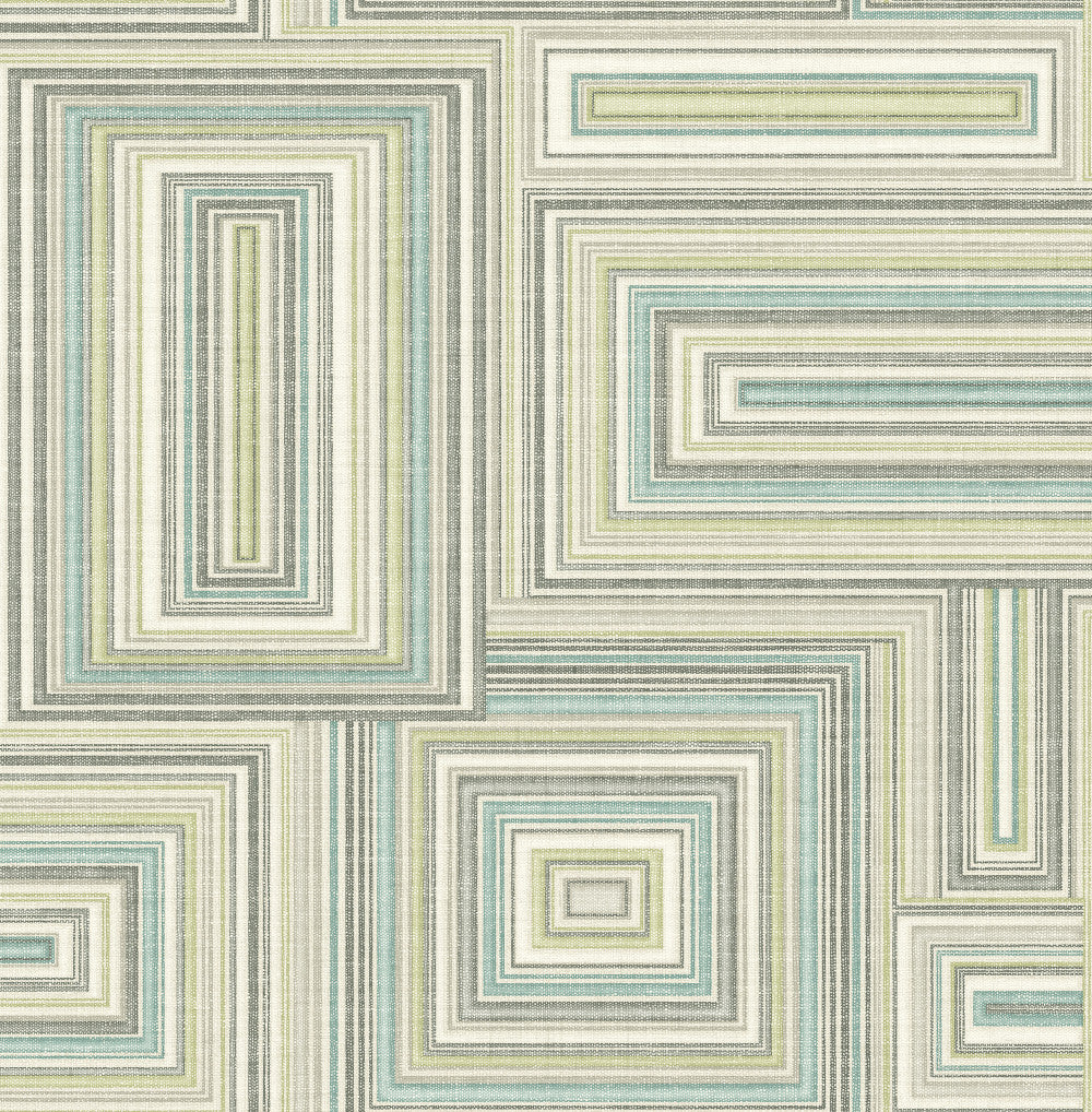 Attersee Squares Wallpaper in Blue and Green from the Lugano Collection by Seabrook Wallcoverings