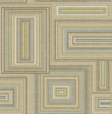 Attersee Squares Wallpaper in Blue and Neutrals from the Lugano Collection by Seabrook Wallcoverings