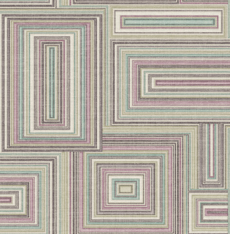 Attersee Squares Wallpaper in Purple from the Lugano Collection by Seabrook Wallcoverings