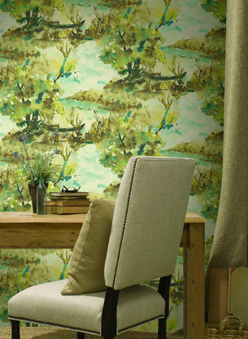 Attersee Wallpaper in Neutrals and Yellow from the Lugano Collection by Seabrook Wallcoverings