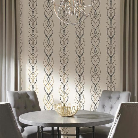 Aurora Wallpaper in Black, White, and Gold by Antonina Vella for York Wallcoverings