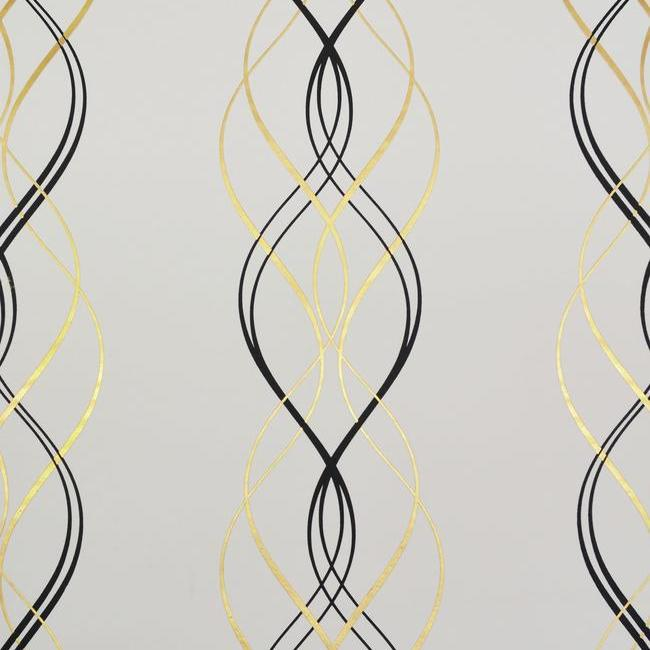 Sample Aurora Wallpaper in Black, White, and Gold by Antonina Vella for York Wallcoverings