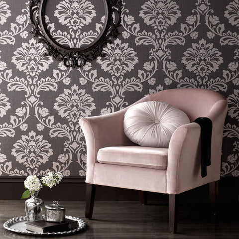 Aurora Wallpaper in Black and Grey from the Midas Collection by Graham & Brown