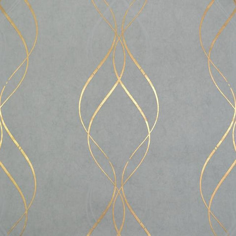 Sample Aurora Wallpaper in Blue and Gold by Antonina Vella for York Wallcoverings