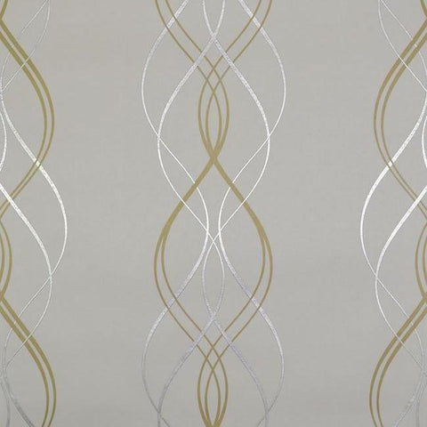 Aurora Wallpaper in Gold, Pearl, and Silver by Antonina Vella for York Wallcoverings