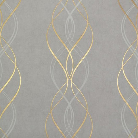 Sample Aurora Wallpaper in Grey and Gold by Antonina Vella for York Wallcoverings