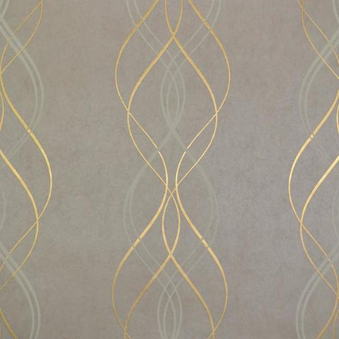 Aurora Wallpaper in Khaki and Gold by Antonina Vella for York Wallcoverings