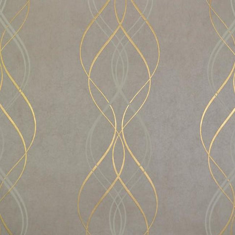 Sample Aurora Wallpaper in Khaki and Gold by Antonina Vella for York Wallcoverings