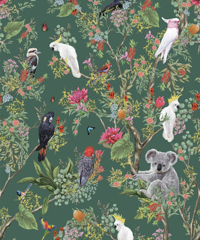 Australia Wallpaper in Antique Green from the Kingdom Home Collection by Milton & King