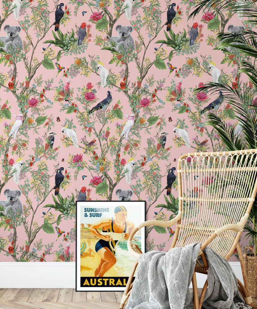 Australia Wallpaper in Coral from the Kingdom Home Collection by Milton & King