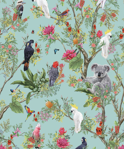 Australia Wallpaper in Jade from the Kingdom Home Collection by Milton & King