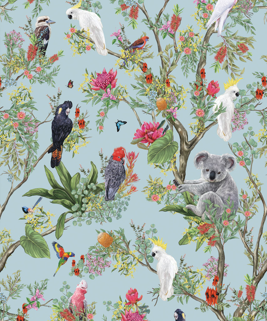 Sample Australia Wallpaper in Powder Blue from the Kingdom Home Collection by Milton & King