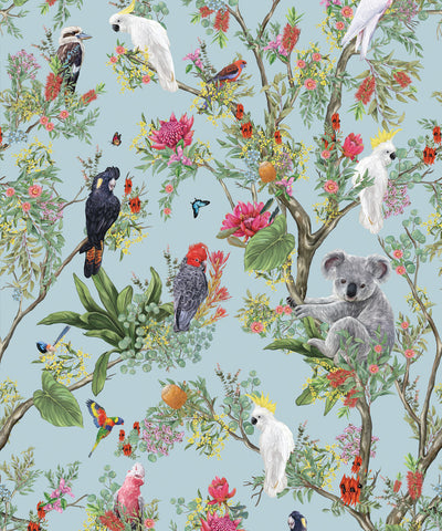 Australia Wallpaper in Powder Blue from the Kingdom Home Collection by Milton & King