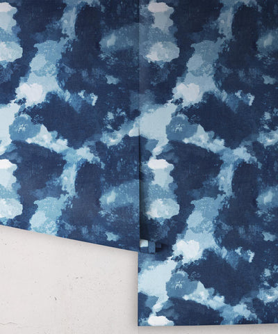 Autumn Path Wallpaper in Indigo from the Shibori Collection by Milton & King