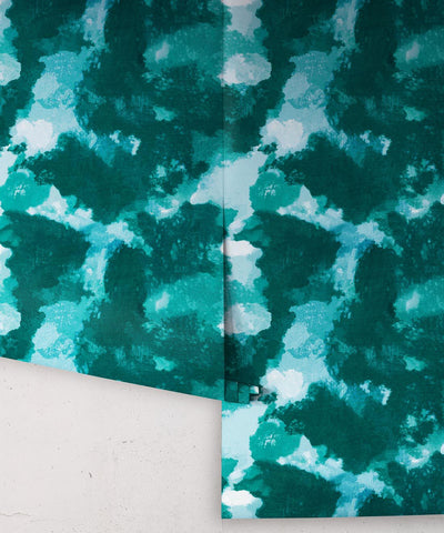 Autumn Path Wallpaper in Ocean from the Shibori Collection by Milton & King