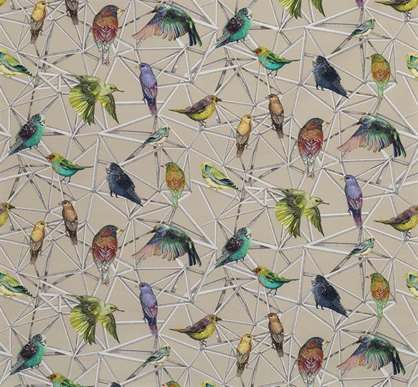 Sample Aviary Fabric in Multi from the Enchanted Gardens Collection by Osborne & Little