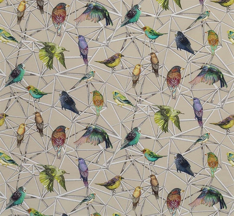 Aviary Fabric in Multi from the Enchanted Gardens Collection by Osborne & Little