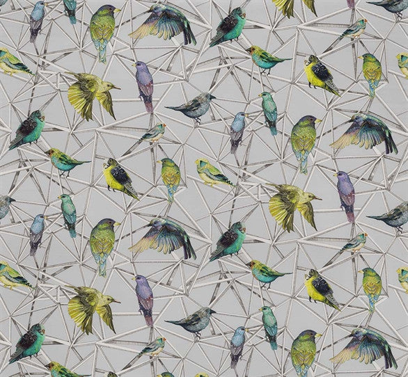 Aviary Fabric in Turquoise and Chartreuse from the Enchanted Gardens Collection by Osborne & Little