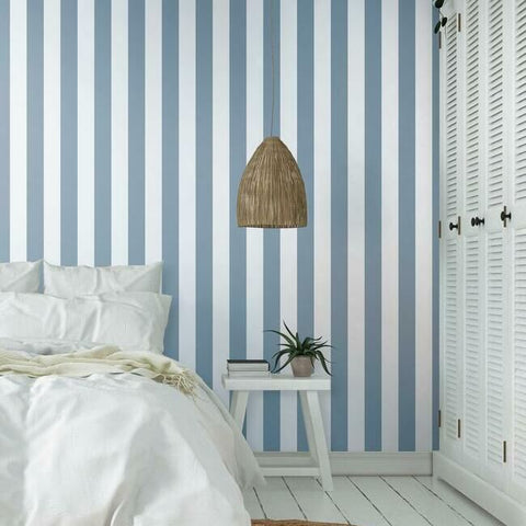 Awning Stripe Wallpaper in Blue from the Water's Edge Collection by York Wallcoverings