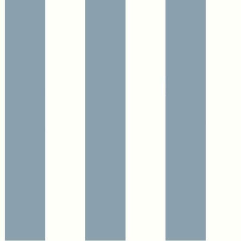 Sample Awning Stripe Wallpaper in Blue from the Water's Edge Collection by York Wallcoverings