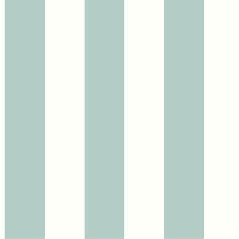Sample Awning Stripe Wallpaper in Ocean from the Water's Edge Collection by York Wallcoverings