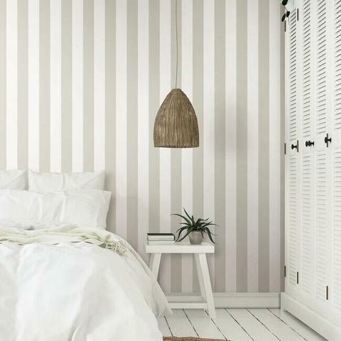 Awning Stripe Wallpaper in Sand from the Water's Edge Collection by York Wallcoverings