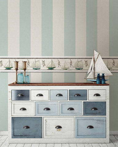 ... Awning Aqua Stripe Wallpaper from the Seaside Living Collection by Brewster Home Fashions