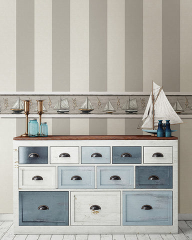 Awning Grey Stripe Wallpaper from the Seaside Living Collection by Brewster Home Fashions