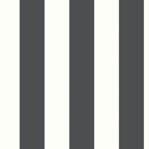 Awning Stripe Peel & Stick Wallpaper in Black by RoomMates for York Wallcoverings