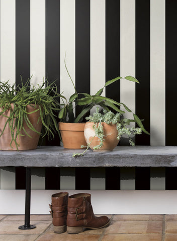 Awning Stripe Wallpaper in Grey and Ivory from the Magnolia Home Collection by Joanna Gaines
