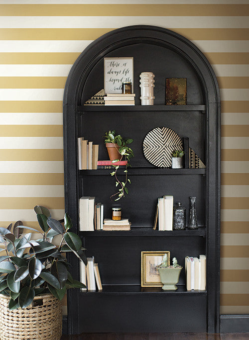 Awning stripe wallpaper in ochre from the magnolia home - Joanna gaines bedding collection ...
