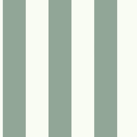 Sample Awning Stripe Wallpaper in Green-Grey from the Magnolia Home Collection by Joanna Gaines