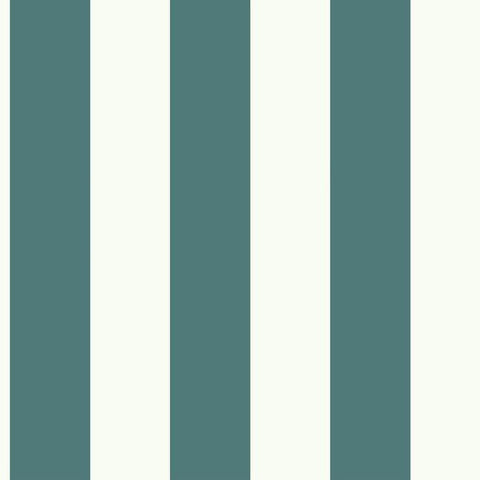 Sample Awning Stripe Wallpaper in Marine Blue from the Magnolia Home Collection by Joanna Gaines