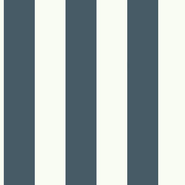 Awning Stripe Wallpaper in Navy from the Magnolia Home Collection by Joanna Gaines