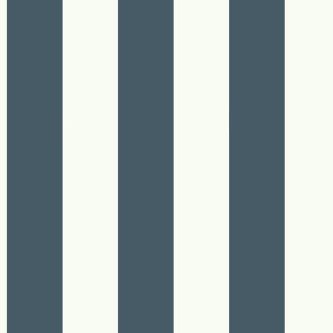 Sample Awning Stripe Wallpaper in Navy from the Magnolia Home Collection by Joanna Gaines