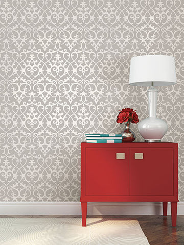 Axiom Grey Ironwork Wallpaper from the Symetrie Collection by Brewster Home Fashions
