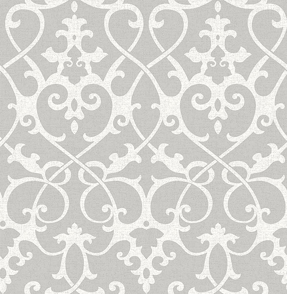 Sample Axiom Grey Ironwork Wallpaper from the Symetrie Collection by Brewster Home Fashions