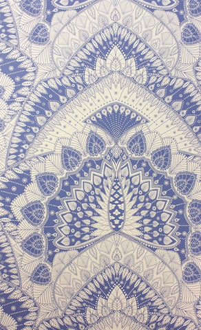 Azari Wallpaper in Blue and White by Matthew Williamson for Osborne & Little