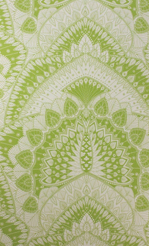 Azari Wallpaper in Lime and Ivory by Matthew Williamson for Osborne & Little