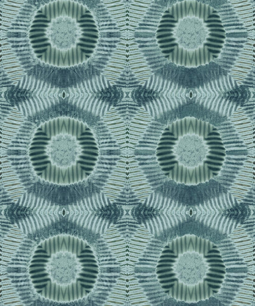 Sample Aztec Suns Wallpaper in Hunter Green from the Shibori Collection by Milton & King